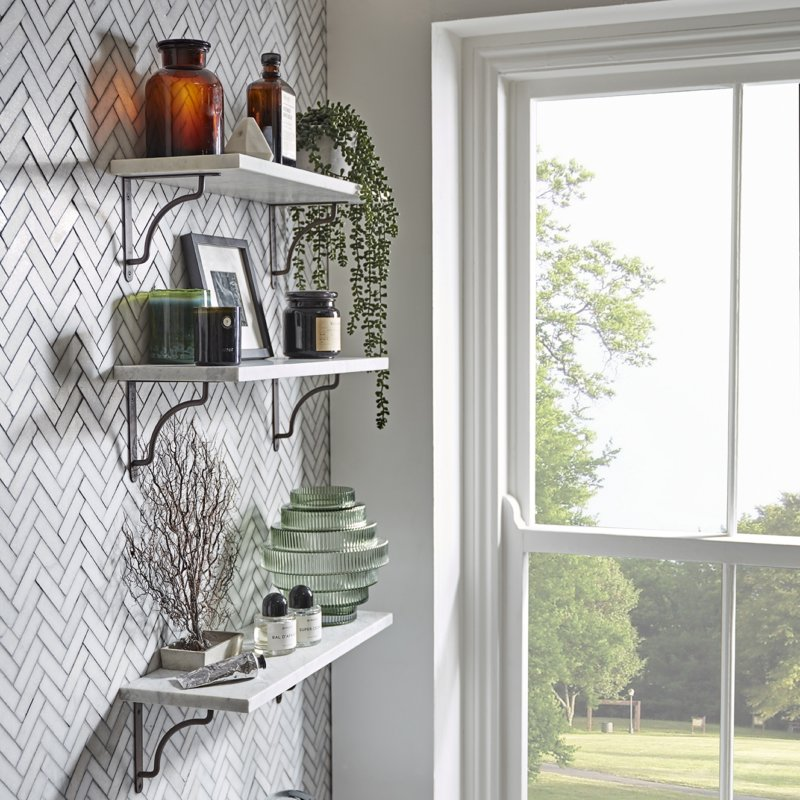 How to style a shelf side view window scene